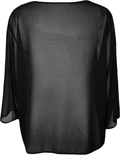 WearAll - Übergröße Damen Plain Offene Kimono Cardigan Top - 6 Farben - Größen 44-54 Schwarz