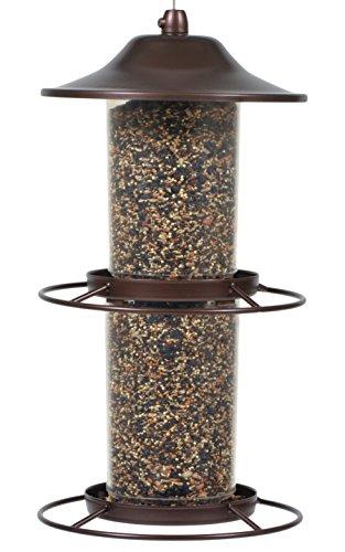 Perky-Pet Mangeoire à oiseau Panorama double lanterne cuivrée Anti écureuil avec perchoir circulaire et écoulement facile pour décorer votre jardin - Capacité max. 2,5kg de graines #325S