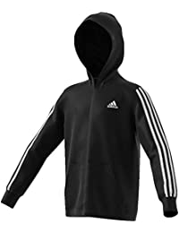 finest selection 89209 a1305 adidas 3 Stripes Full Zip Hoodie Bambino, BlackWhite, 9-10A