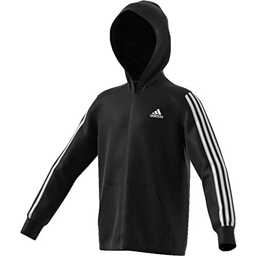 adidas Jungen YB MH 3S FZ Sweatshirt, Black/White, 13-14Y