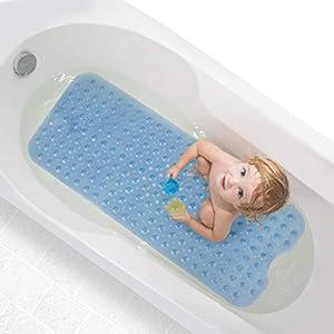 Magicfun Badewannenmatten, Kinder rutschfest Badematte mit Saugnapf 100 x 40 cm Lang Duschmatte für Badezimmer Babys Haustier Maschinenwaschbar Handwaschbar (Blau