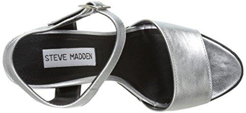 Steve Madden Traviss Leder Plateausandale Silver