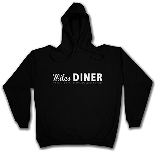MILES DINER HOODIE HOODED PULLOVER SWEATER SWEATSHIRT MAGLIONE FELPE CON CAPPUCCIO - Sizes S - 2XL Nero
