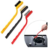 Woogor Set of 3 Pc Mini Wire Brush Cleaning Tool Kit Brass, Nylon, Stainless Steel Bristles, Gas Cleaning Brushes Iron…