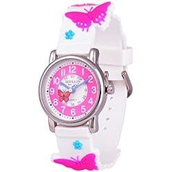 Wolfteeth Niñas Pequeñas Niños Niños Cute Reloj Muñeca Profesor, Personaje De Dibujos Animados 3D Mariposa Blanca Cuadrícula 303609