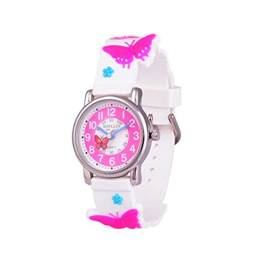 Wolfteeth MädchenarmbanduhrJunge Cartoon Charakter 3D Schmetterling weißes Uhrenarmband