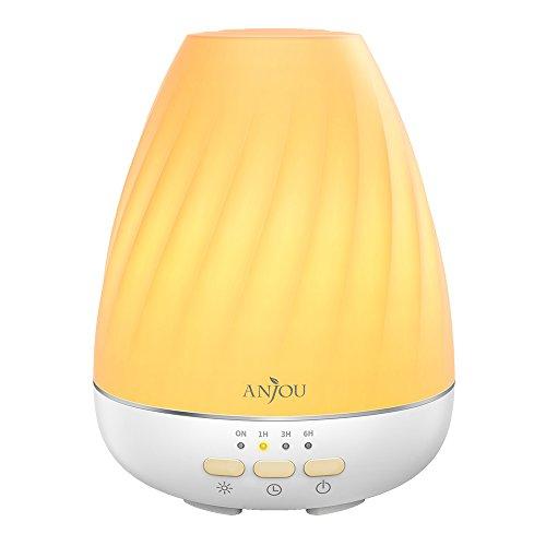 Diffusore aromaterapia anjou 200ml per oli essenziali, uso fino a 12h, controllo nebulizzazione, auto spegnimento basso livello dell'acqua, 4 impostazioni timer, 7 luci led colorate, senza bpa