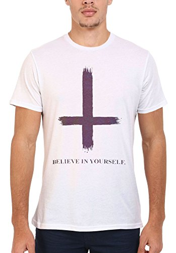Inverted Cross Beleive in Yourself Cool Funny Men Women Damen Herren Unisex Top T Shirt .Weiß