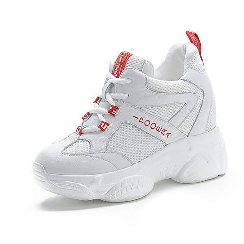 tqgold® Sneakers Zeppa Donna Scarpe da Ginnastica con Zeppa Interna Sportive Fitness Basse Scarpe 9CM(Bianca,38 EU)