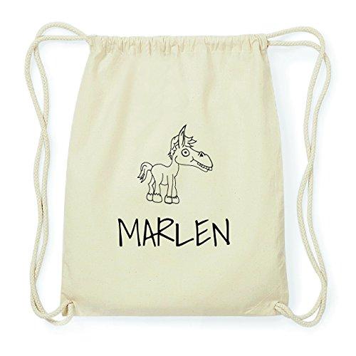JOllipets Marlen Hipster Turnbeutel Tasche Rucksack aus Baumwolle - Design: Pferd - Farbe: Natur