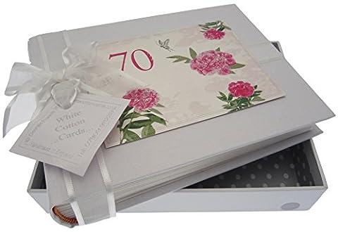 White Cotton Cards Erinnerungsalbum für 70. Geburtstag, klein, Design'englische Rosen'Album