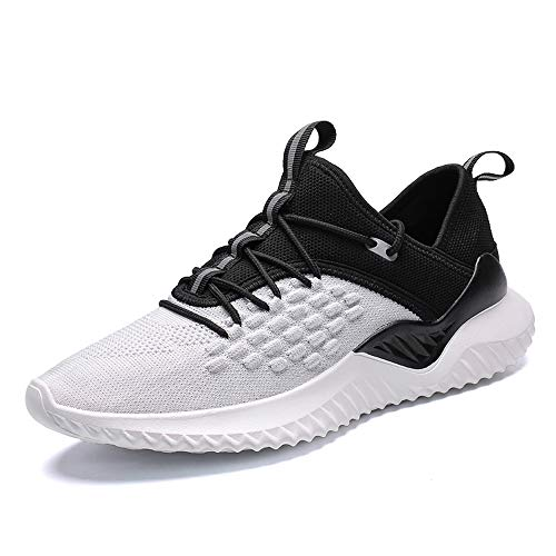 Velukin Scarpe da Corsa su Strada Uomo Sneaker Sportive Scarpe Comode per Camminare Jogging,Bianca,43EU