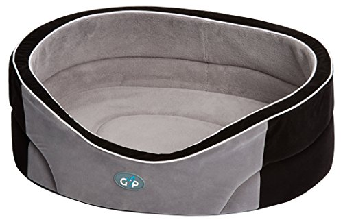 gor-pets-manhattan-premium-dog-bed-comfortable-washable-27-inch-black-grey