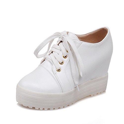 AllhqFashion Femme Pu Cuir Couleur Unie Lacet Rond à Talon Haut Chaussures Légeres Blanc