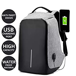 AllExtreme Anti Theft Backpack Water Resistant Oxford Fabric 15 Liters Grey Office Laptop Bag