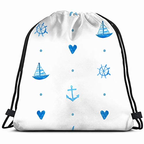 fjfjfdjk Marine Hand Painted Watercolor Sports Recreation Drawstring Backpack Gym Sack Lightweight Bag Water Resistant Gym Backpack for Women&Men for Sports,Travelling,Hiking,Camping,Shopping Yoga