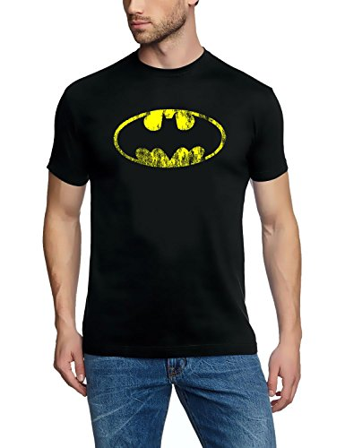 Coole-Fun-T-Shirts T-Shirt Batman Vintage Logo, schwarz, M, FT75 (Coole Vintage Shirts)