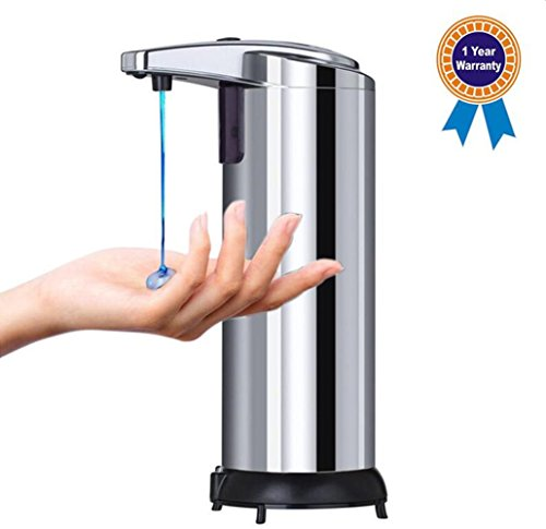 Automatic Soap Dispenser, Emwel 250ML Stainless Steel Touchless Hand Free Motion Sensor Auto Liquid Soap Dispensers with Waterproof Base for Kitchen and Bathroom Office Sanitizer Shampoo Lotion