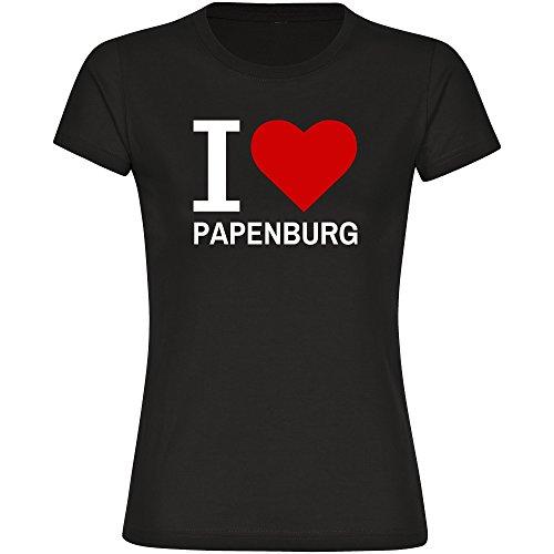 Multifanshop T-Shirt Classic I Love Papenburg schwarz Damen Gr. S bis 2XL, Größe:XL