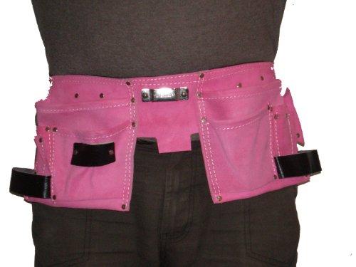 Lederwerkzeuggürtel für Frauen, 11 Taschen, Pink