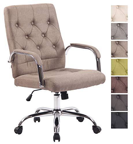 Clp sedia ufficio leroy v2 in tessuto - poltrona studio design chesterfield - poltrona regolabile e con meccanismo di oscillazione - sedia direzionale tortora