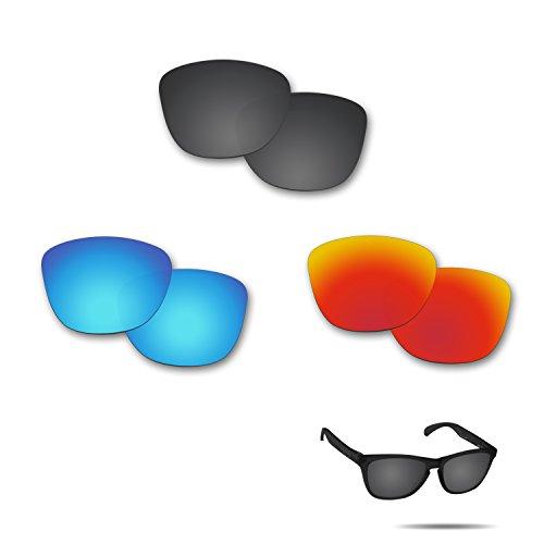 fiskr anti-saltwater Polarisierte Ersatz Gläser für Oakley Frogskins-3Paar Pack, Stealth Black & Fire Red & Ice Blue