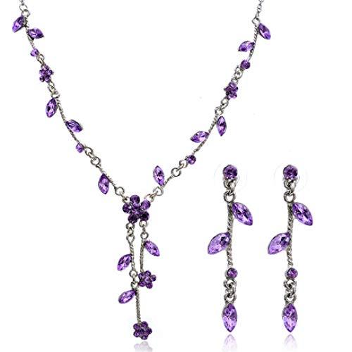 MYYQ 925 Sterling Silber Damen Kette mit Anhänger mit,Blume Quaste Halskette Set Damen verzinkter Schmuck für alle Gelegenheite