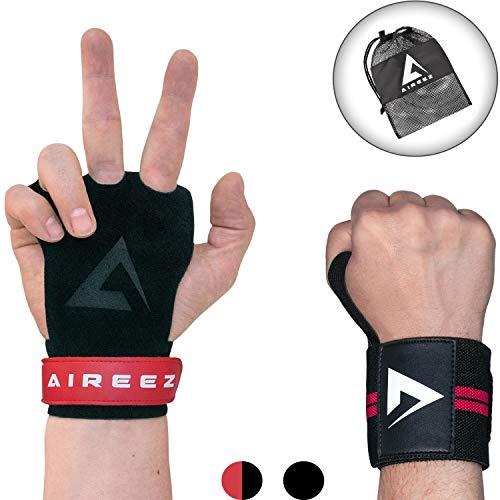 Aireez 2 in 1 Crossfit - Fitness Handschuhe & Handgelenk Bandagen Set für Damen & Herren (Medium/Rot-Schwarz) Fester Griff & Handgelenkschutz für Calisthenics Training