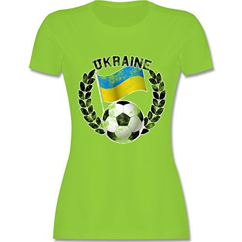EM 2016 - Frankreich - Ukraine Flagge & Fußball Vintage - tailliertes Premium T-Shirt mit Rundhalsausschnitt für Damen Hellgrün