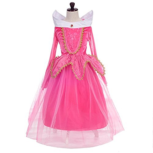 �m Aurora Prinzessin Kleid Party Kinder Spitze Cosplay Paillette Kleidung Festival Hallween Karnerval 110 (Aurora Kostüm Mädchen)