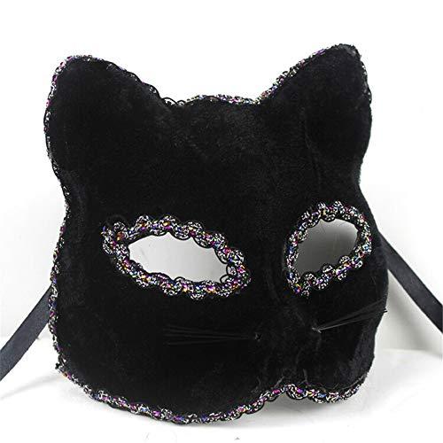 Maske Weihnachten Halloween Maske Katze Gesicht gemalt Maske, schwarz ()