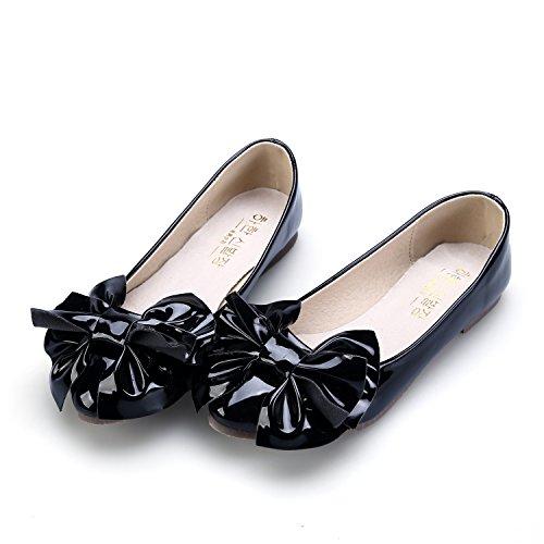 Ballet Couro Brilhante Grande Plano Senhoras Ballerina Smilun Laço Patente Preto qnw81BxFH