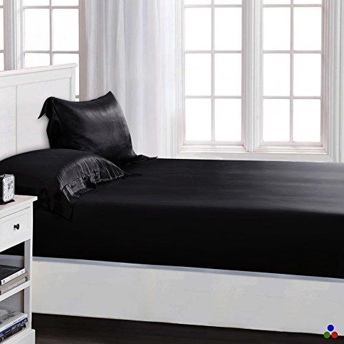ElleSilk 100% Seiden Bettlaken-Set 3-teiliges, Seide Spannbetttuch (140 x 200 x 30cm) und Seide Kopfkissenbezüge (80 x 80cm) für Ganzjähre, 22 Momme, Super Weich und Komfortabel - Schwarz