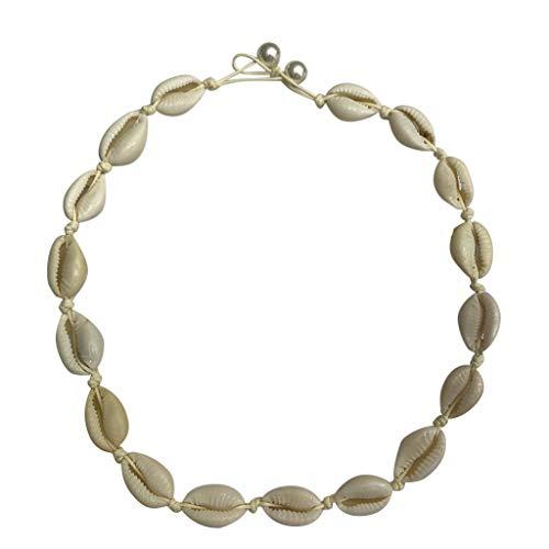 LILIGOD Frauen Shell Halskette Seashell Verstellbare Anhänger Cord Bib Kragen Schmuck Damen Accessoires Böhmischer Retro Natürlicher FrischwasserShell-Seil-Halsketten-Damen-Schmuck Stretch Lace Shell