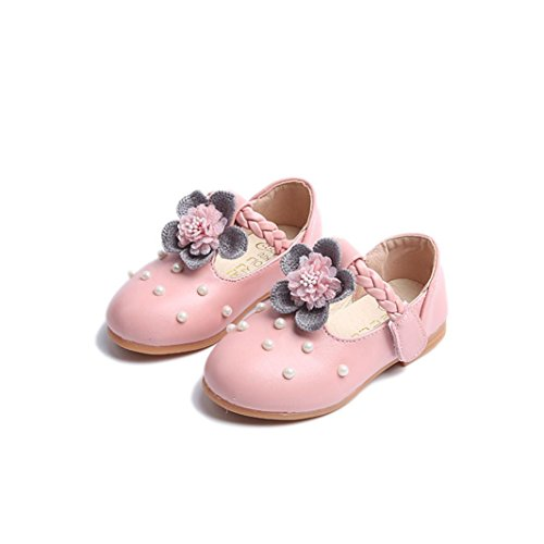 QUINTRA Baby Mode Sneaker Pearl Kleinkind Kinder Floral Prinzessin Casual einzelne Schuhe (25, Rosa)
