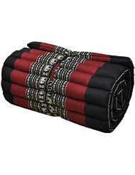 Matelas Thai 1 p., tapis, appoint, détente, repos, gym, méditation, yoga, plage, piscine, fabriqué en Thaïlande, Noir/rouge (81613)