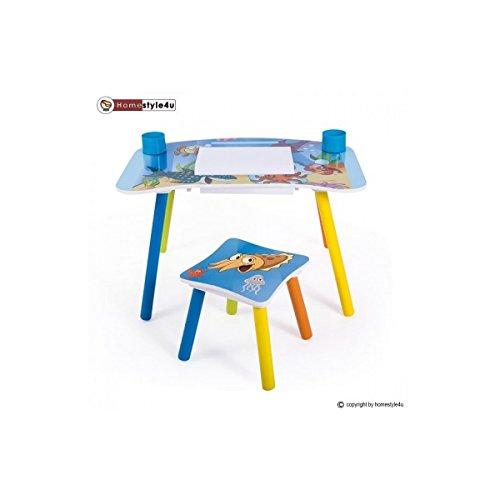HOMESTYLE4U Stuoia di Studio Homework Scrittura Tavolo per Bambini con Motivo Mare, Legno, 30x 30x 30cm
