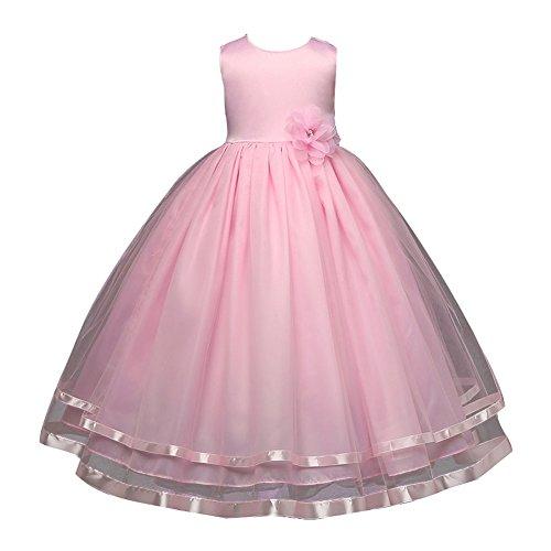Mädchen Kleid Hochzeitkleid - Juleya Sweet Prinzessin Lace Blumenmädchenkleider für Hochzeits Brautjungfern Festzug Partei Festliches Kleid (Kommunion Boutique Kleider)