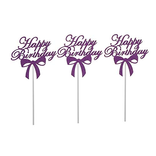 lies - 3pcs Diy Happy Birthday Cake Decoration Glitter Bowknot Per Acrylic Flags - Mermaid Decorating Candy Holder Basketball Computers Carrying Rubber Leaf Edible Large Brus ()