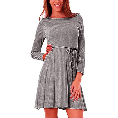 IMJONO Rock Dress,2019 Jubiläumsfeier Mode Frauen Casual Dress Langarm Verband Mini Club Partykleid(Small,Grau)