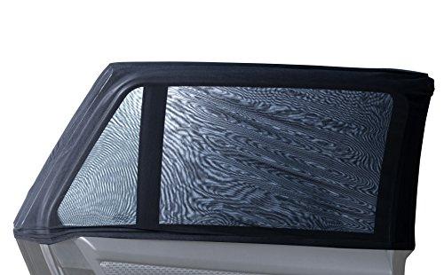 2x Premium Sonnenschutz Sonnenblende für Auto / PKW mit Klettbändern gegen Verrutschen | Hält bis zu 95% der UV Strahlung ab | Stretch - passt auf viele KFZ-Modelle mit 4/5 Türen | 2er Set für beide hintere Seitenscheiben | Anbringung ohne Saugnapf