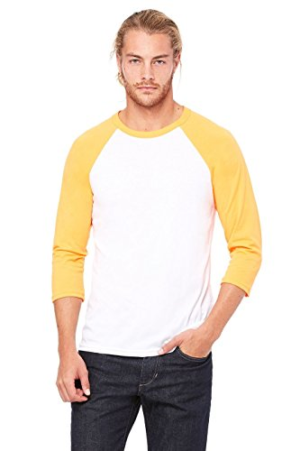 Bella, 3200, Unisex, 3/4-Ärmel, Baseball-T-Shirt - White/Neon Orange