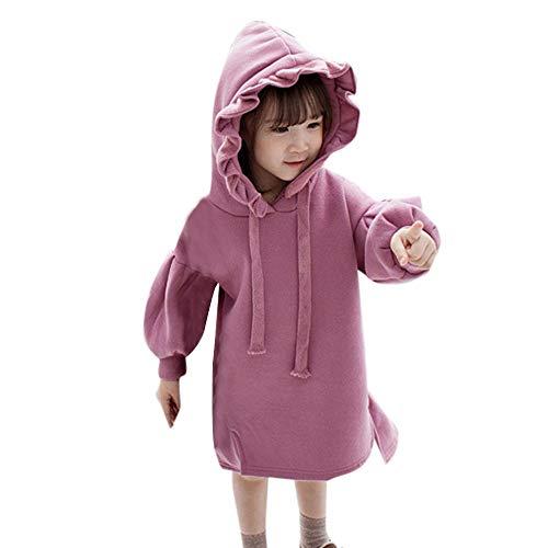 (Kobay Baby Mädchen Kleider Solide Geraffte Dicke warme Pullover Kleid Tops Kleidung(12-18M,Lila))