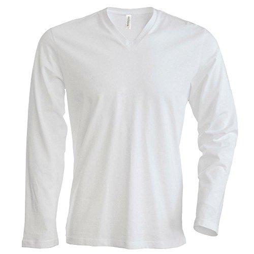 Langarm T-Shirt mit V-Ausschnitt White