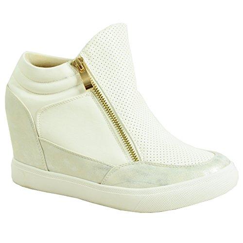 Keilschuhe für Damen, Marke New Cucu Fashion Reißverschluss an der Seite, Knöchel Niedrig Turnschuhe Sneakers Schuhe, Größe 3–8 (UK), Weiß - Weiß - White Pu - Größe: 42 (Größe 5 Schuhe Für Frauen Wedges)