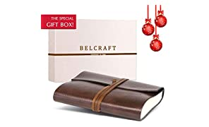 Belcraft Tivoli Large Recycled Leather Bound Journal, MADE IN ITALY, Writing Notebook, Memory Book, Travel Diary & Notepad, Gift Idea, Christmas Gift for Man & Woman, Including SPECIAL GIFT BOX, A5 (15x21 cm) Brown