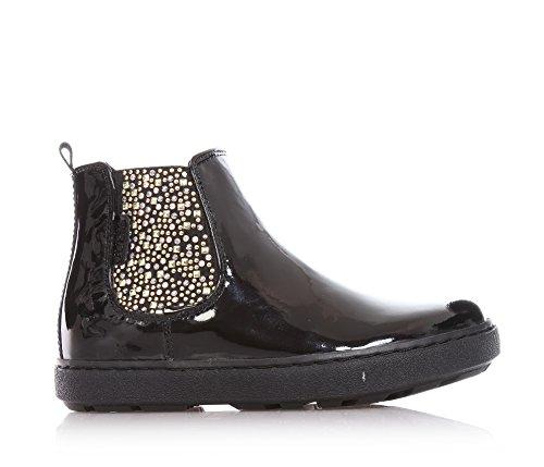 GUESS - Schwarze Stiefeletten aus Lackleder, elastische Seiten mit Strass und Nieten, Mädchen,kind-27 (Kinder Schuhe Guess)