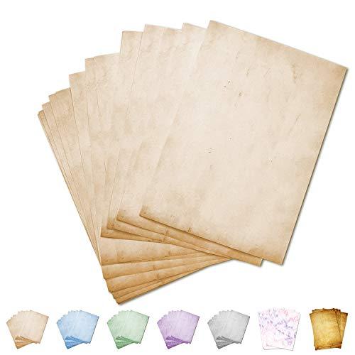 Partycards 50 Blatt Retro Briefpapier | Altes Papier Vintage, geeignet für alle Drucker (Beige, Format DIN A4 (21 cm x 29,7 cm), Grammatur 90 g/m²) -