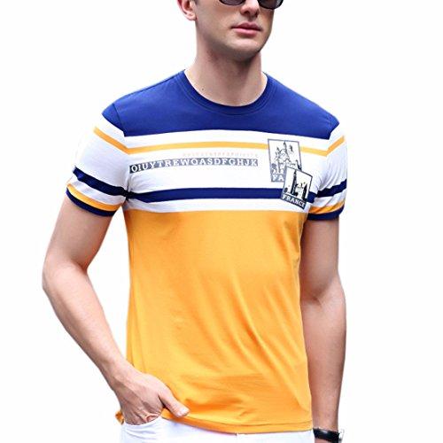 Ai.Moichien Uomo stile francese Comfy Round Neck Colourful Stripes Spliced manica corta stampata Casual T-shirt Giallo