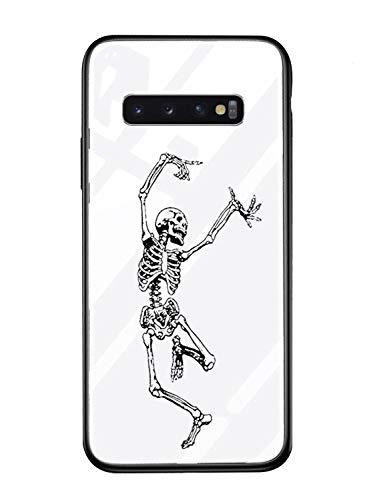 für Galaxy S9 Plus Hülle Transparent Silikon Rahmen Handyhülle Durchsichtig Aufklappen Schutzhülle,Gehärtetem Glas Bumper Tier Süß für Samsung Galaxy S9 Plus (Skull) ()